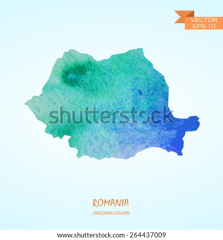 hand drawn watercolor map of Romania isolated. Vector version  - stock vector
