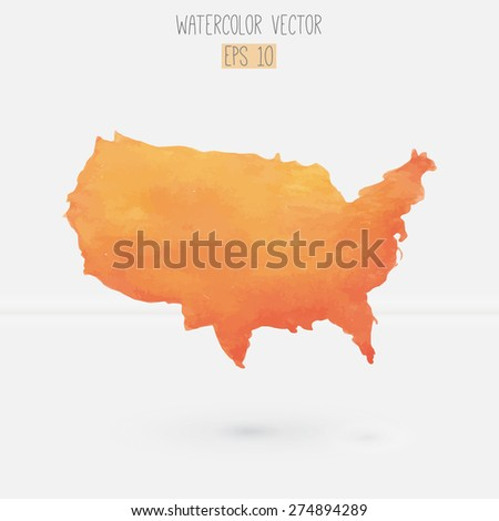 hand drawn watercolor map of USA isolated on white. Vector. - stock vector