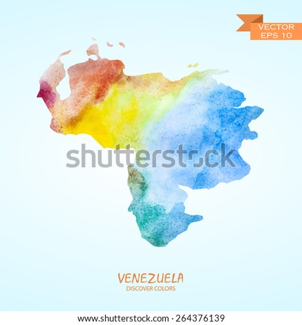 hand drawn watercolor map of Venezuela isolated. Vector version - stock vector