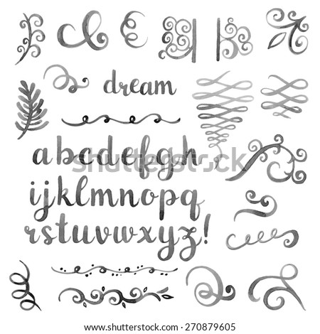 Hand drawn watercolor monochrome design elements. Elegant calligraphic flourishes and artistic font. - stock vector