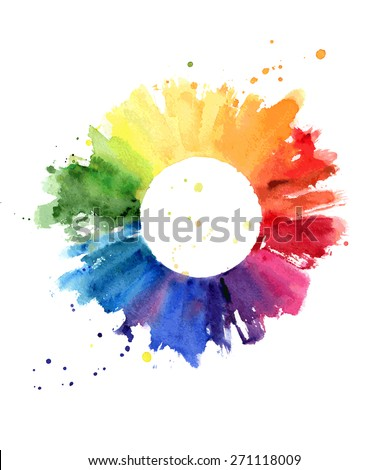 Hand drawn watercolor painting on white background. Vector illustration of color wheel - stock vector