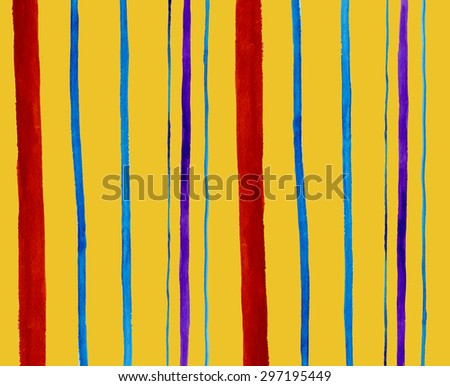 Hand-drawn watercolor pattern of brown, blue and violet stripes on yellow in the Watercolour pattern collection