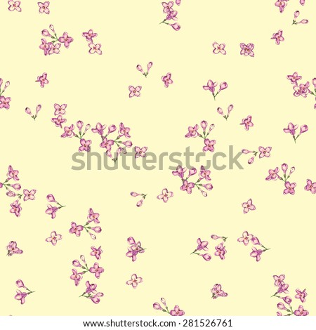 Hand drawn watercolor seamless pattern with tender little lilac flowers on the light background in vector - stock vector