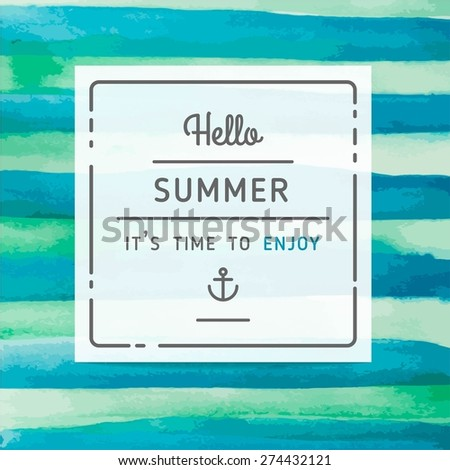 hand drawn watercolor summer label, vector illustration - stock vector