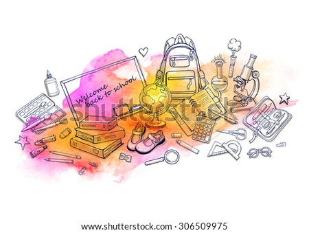 Hand drawn watercolor template with back to school object - books, notebook, blackboard, pen, globe, paint, shoes, backpack, microscope, pencil-case, glue. Doodle yellow, pink color background. - stock vector
