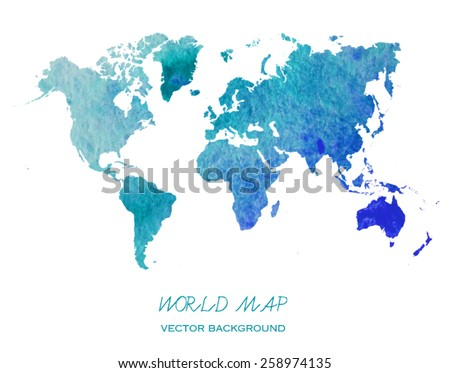 hand drawn watercolor world map isolated on white. Vector version - stock vector