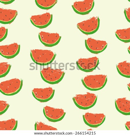 hand drawn watermelon slices arranged in rows seamless pattern, childish style, beautiful bright design for textile, fabric, covers, paper, scrapbooking, kitchen surfaces, etc - stock vector