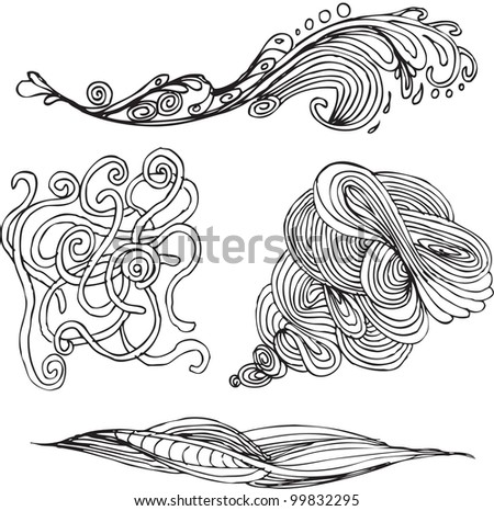 hand drawn wavy forms