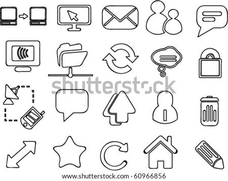 hand drawn web & blog signs. vector - stock vector