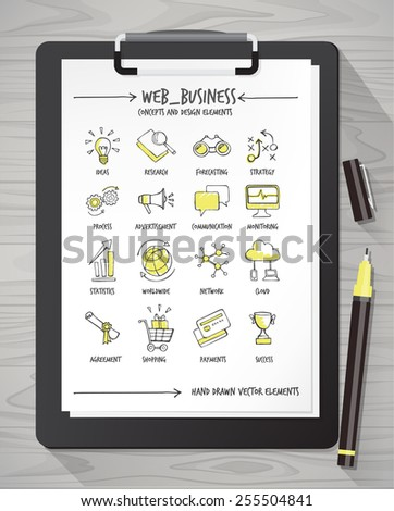 Hand drawn web business icons and concepts on a sheet with clipboard and pen - stock vector