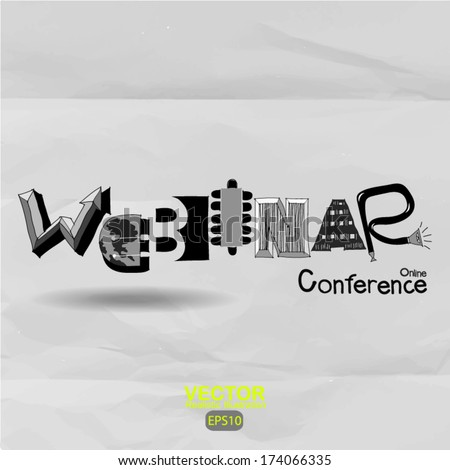 hand drawn webinar design graphic word on crumpled paper background - stock vector