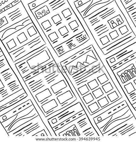 Hand drawn website layouts. doodle style design. Website layout doodle. Web page graphic template.UI kit sketch internet page.Portfolio webpage idea. Creative web design sketch. Wireframe page layout.