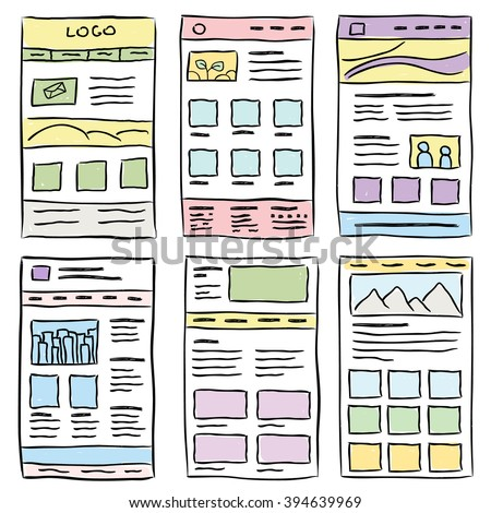 Hand drawn website layouts. doodle style design. Website layout doodle. Web page graphic template. UI kit sketch internet page.Portfolio webpage idea. Creative web design sketch.Wireframe page layout.