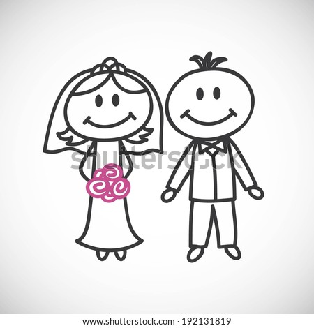 hand-drawn wedding couple (cartoon doodle)