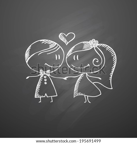 hand drawn wedding couple on a chalkboard - stock vector