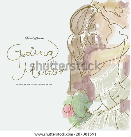 Hand Drawn/Wedding Series/Getting Married - stock vector