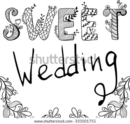 Hand drawn wedding title. Wedding title template. Wedding template in doodle style. - stock vector