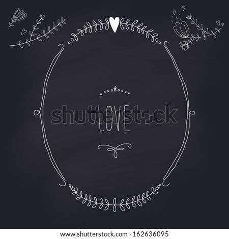 Hand drawn wedding wreath on chalkboard. EPS 10. Transparency. No gradients. - stock vector