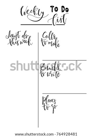handdrawn weekly list templates handwriting lettering stock vector