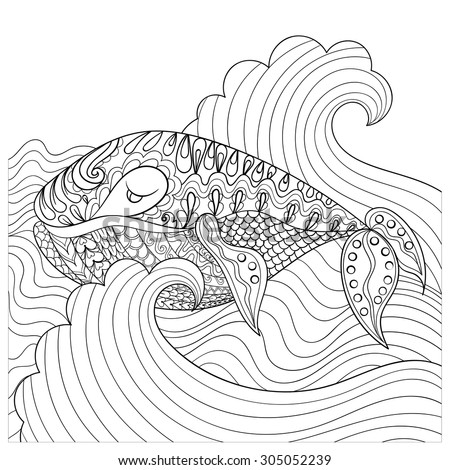 hand drawn whale in the waves for anti stress coloring page with high details isolated
