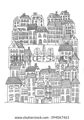 Hand drawn whimsical cartoon style hand drawn sketch illustration of village houses and other buildings