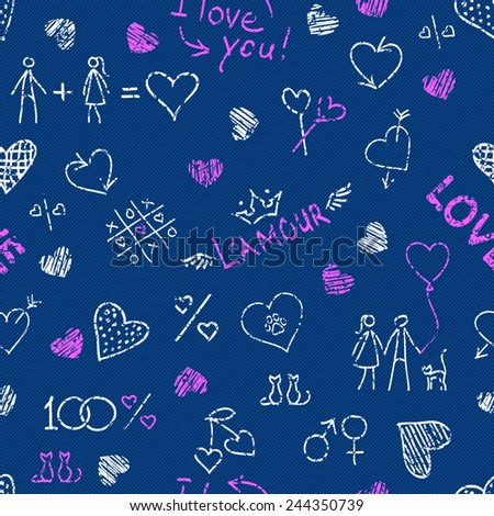 Hand drawn white and pink seamless pattern with cute hearts and love elements on the blue jeans background for Valentines Day and wedding design - stock vector
