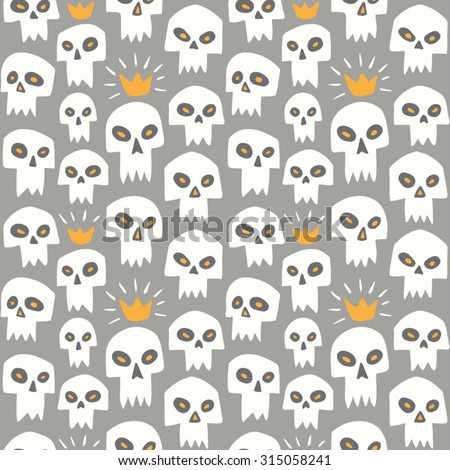 Hand drawn white evil skulls seamless pattern. Cute cartoon sculls with sharp vampire teeth and shining crown. Halloween background. Grey backdrop. - stock vector