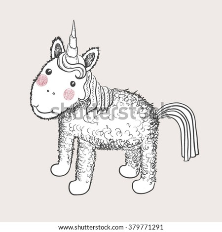 Hand drawn white isolated cartoon pretty unicorn - stock vector