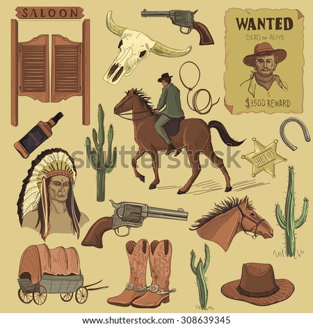 Hand drawn Wild West icons set with revolvers, skull, injun, cowboy, van, horse, cactus, hat, horseshoe, lasso, sheriff, shoes, horseman - stock vector