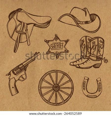 Hand drawn Wild West western set. Cowboy hat, cowboy boots, gun, sheriff star, horseshoe. Craft paper background - stock vector