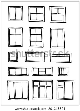 Hand drawn windows  isolated on white background - stock vector