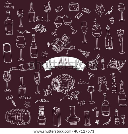 Hand drawn wine and cheese set icons. Vector illustration Sketchy tasting elements collection isolated objects Cartoon symbols Vineyard background Winery Grape Glass Bottle package Oak barrel - stock vector