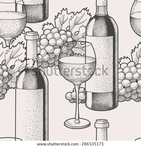 Hand drawn wine and grape seamless background - stock vector