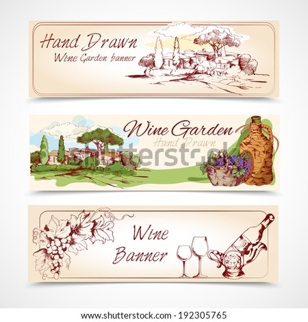 Hand drawn wine garden banner set with grape house bottle elements isolated vector illustration - stock vector
