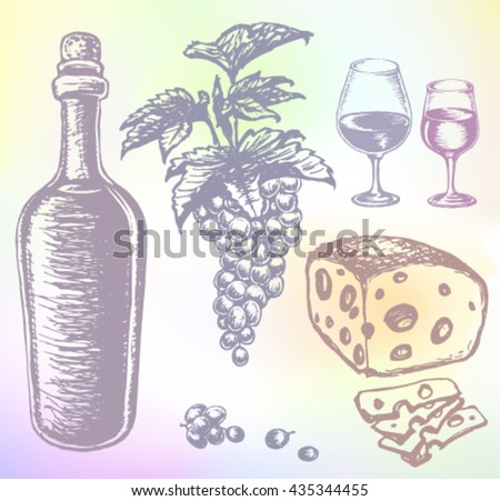 Hand-drawn wine vector. Grape wine or beverage alcohol drink set. Ink drawn grape wine illustration with wine, grape, cheese, cheese slices, wine bottle, wine glasses, grape bunches, grape berries. - stock vector