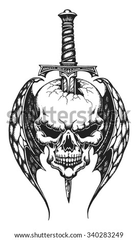 Hand drawn winged skull impaled on dagger. Vector illustration