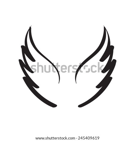 Hand drawn wings - stock vector