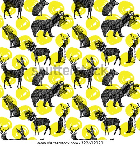 hand drawn winter animals seamless background - stock vector