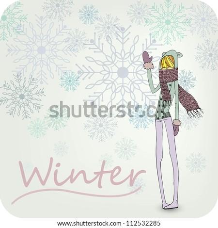 Hand Drawn Winter Girl - stock vector