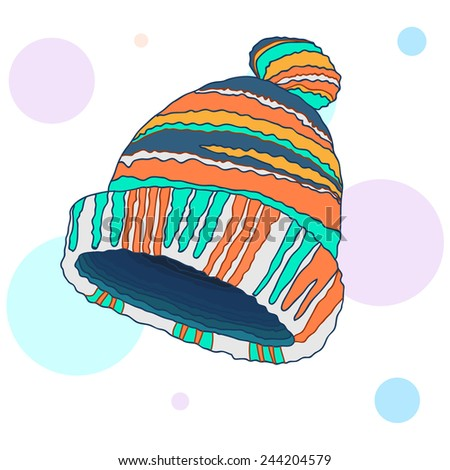 Hand drawn winter hat with bob (pompom) on abstract background with circles. Vector illustration.  - stock vector