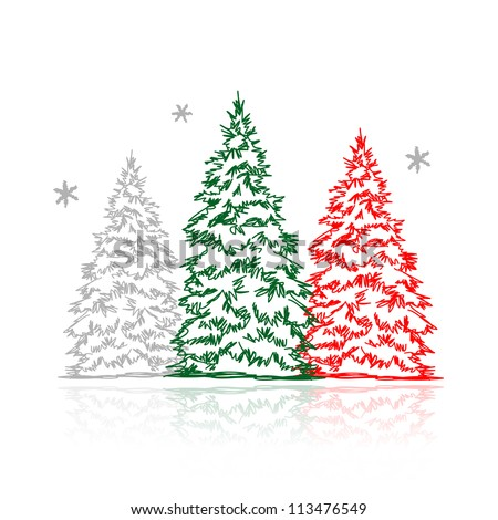 Hand drawn winter trees for your design - stock vector