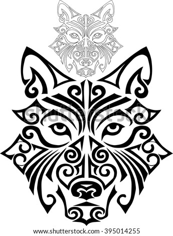 Hand drawn wolf head stylized Maori face tattoo. Vector