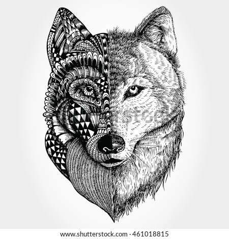 Hand drawn Wolf head zentangle stylized