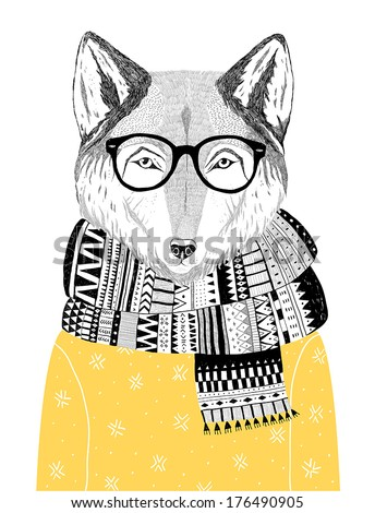 hand drawn wolf portrait in hipster glasses, scarf and sweater, winter look. Vector illustration  - stock vector