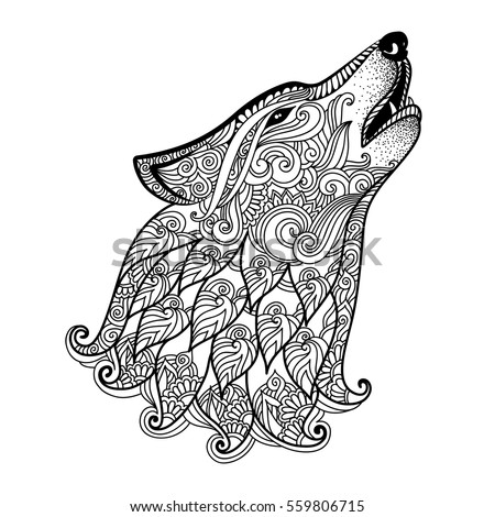 hand drawn wolf side view with ethnic floral doodle pattern coloring page zentangle design - Wolf Coloring Pages For Adults