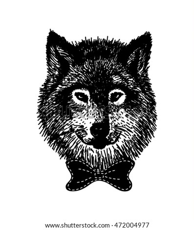 hand drawn wolf with the bow tie black wild animal in hipster style isolated on