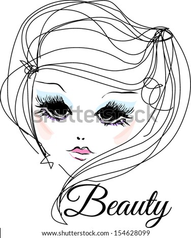 Hand drawn woman�s face. Fashion beauty girl illustration with make up - stock vector