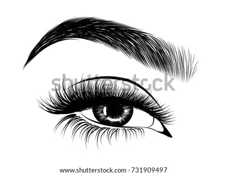 handdrawn womans fresh makeup look perfectly stock vector 731909497