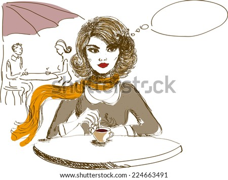 Hand drawn woman with red lips drinking coffee - stock vector