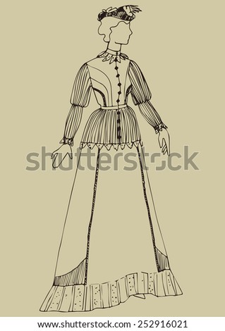 hand drawn women in historical costume of 19 century